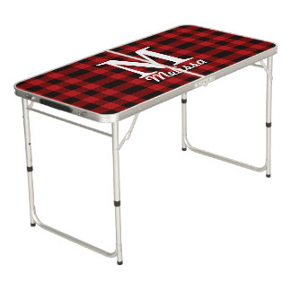 cottage Christmas plaid Red buffalo lumberjack Beer Pong Table