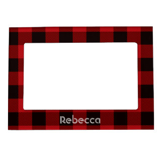 cottage Christmas plaid Red buffalo lumberjack Magnetic Picture Frame