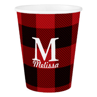 cottage Christmas plaid Red buffalo lumberjack Paper Cup