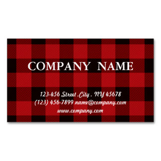 cottage Christmas Red buffalo lumberjack plaid Magnetic Business Cards