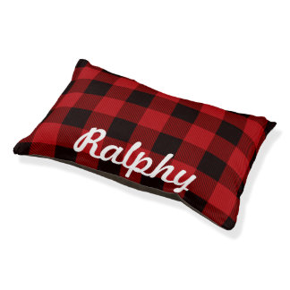cottage Christmas Red buffalo lumberjack plaid Pet Bed