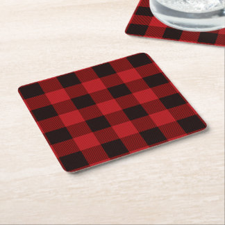 cottage Christmas Red buffalo lumberjack plaid Square Paper Coaster