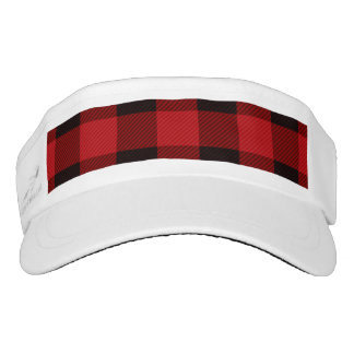 cottage Christmas Red buffalo lumberjack plaid Visor