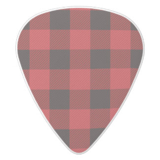 cottage Christmas Red buffalo lumberjack plaid White Delrin Guitar Pick