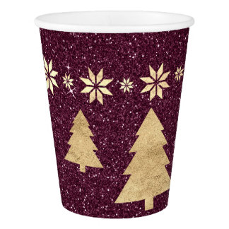 Cottage Christmas Spark Burgundy Glitter Tree Star Paper Cup