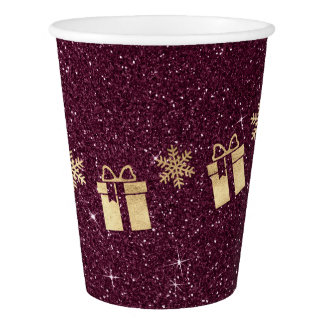 Cottage Christmas Sparkly Burgundy Glitter  Golden Paper Cup