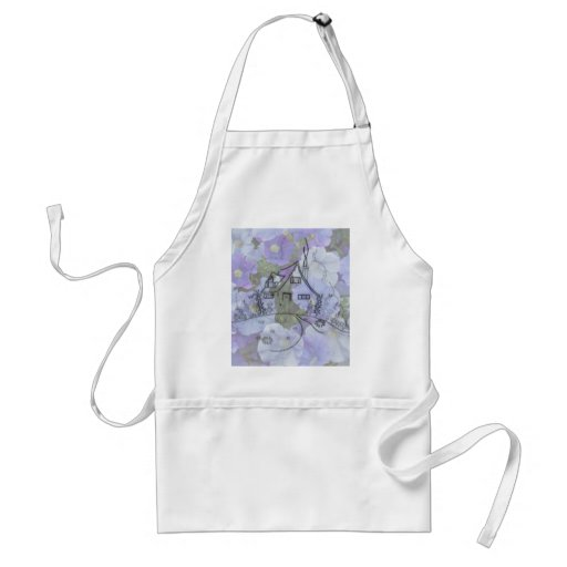 Cottage Embroidery & Petunias Aprons