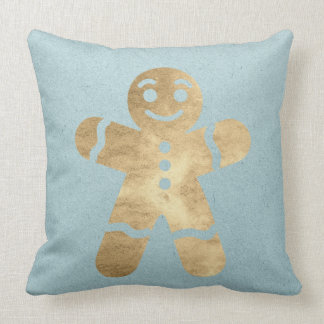 Cottage Gold Gingerbread Man Blue Holidays Throw Pillow