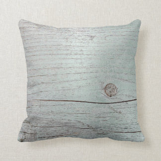 Cottage Grungy House Ocean Blue Gray Metallic Wood Cushion