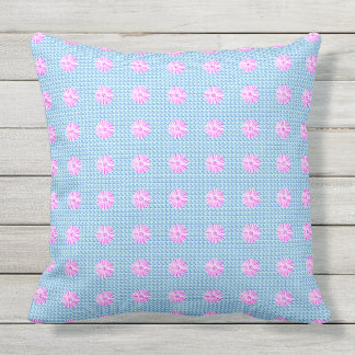 Cottage-Home-Outdoor-Indoor--Blue-Pink-Floral Cushion