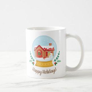 Cottage House and Snowman Christmas Snow Globe Mug