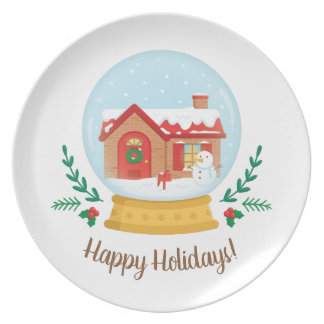 Cottage House and Snowman in Snow Globe Plate