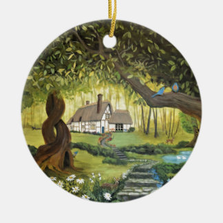 Cottage in the Woods Ceramic Ornament