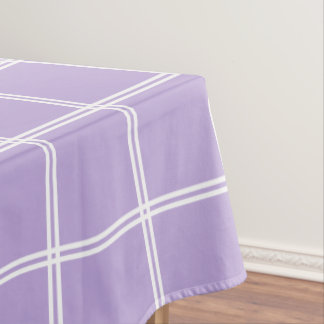 Cottage Lavender and White Double Stripe Plaid Tablecloth