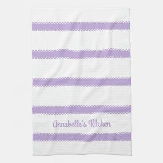 Cottage Lavender Ribbons Personalized Tea Towel