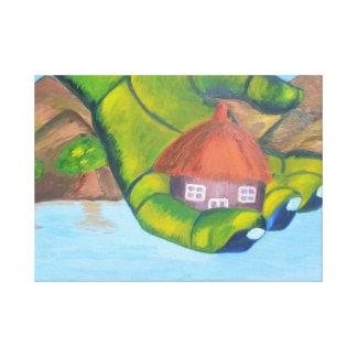 Cottage Oil Painting Canvas Print