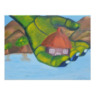 Cottage Oil Painting Poster