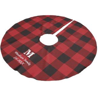 cottage Red buffalo lumberjack plaid monogram Brushed Polyester Tree Skirt
