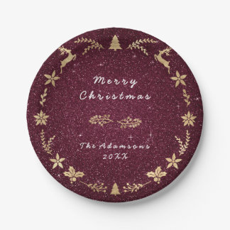 Cottage Red Burgundy Glitter Gold Christmas Paper Plate
