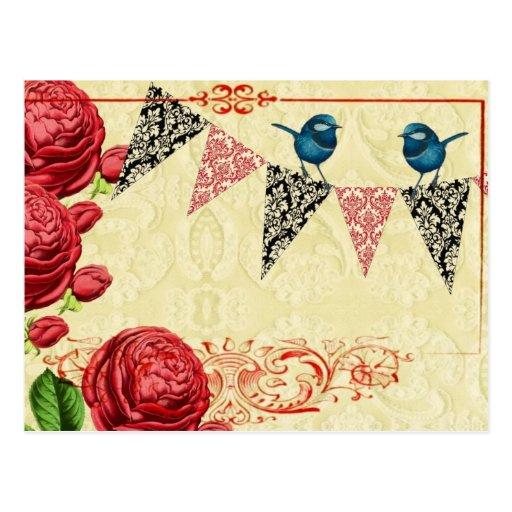 Cottage Rose Banner Flag Postcard