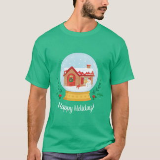 Cottage Snowman Christmas Holiday Snow Globe Tee