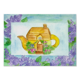 Cottage Teapot Lilac Watercolor Flowers Poster
