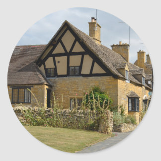 Cottages in Broadway, Cotswolds round sticker