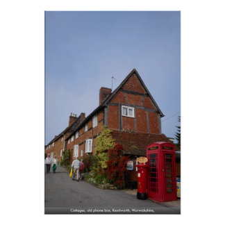 Cottages, old phone box, Kenilworth, Warwickshire, Poster