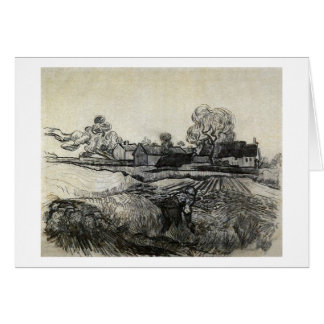 Cottages, Woman in Foreground, Vincent van Gogh Card