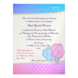 Cotton Candy Bat Mitzvah Custom Invites