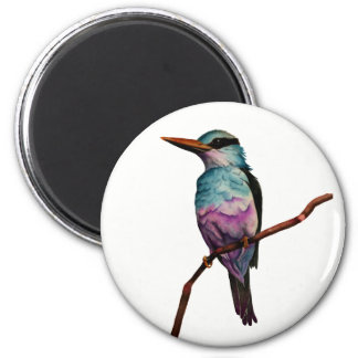 Cotton Candy Color Bird Painting 6 Cm Round Magnet