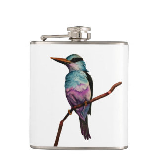 Cotton Candy Color Bird Painting Hip Flask