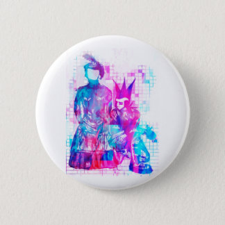 Cotton Candy Goth Girl and Punk Dude 6 Cm Round Badge