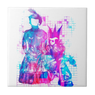 Cotton Candy Goth Girl and Punk Dude Ceramic Tile