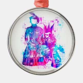 Cotton Candy Goth Girl and Punk Dude Metal Ornament
