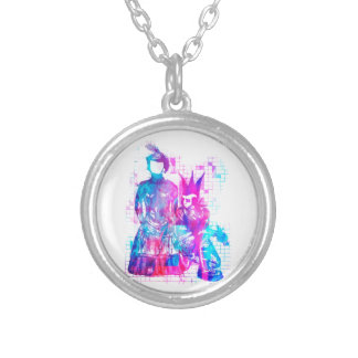 Cotton Candy Goth Girl and Punk Dude Silver Plated Necklace