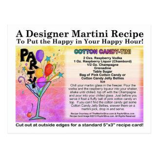 Cotton Candy Martini Recipe Card Postcard