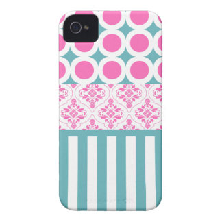 Cotton Candy Pink Blue Circles Stripes Damask Coll Case-Mate iPhone 4 Cases