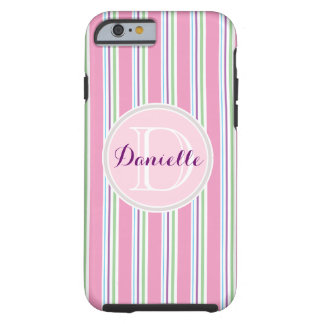 Cotton Candy Pink, Green, Aqua Purple Name Stripes Tough iPhone 6 Case