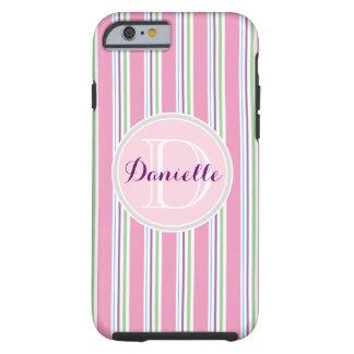 Cotton Candy Pink, Green, Aqua Purple Name Stripes Tough iPhone 6 Case