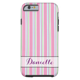 Cotton Candy Pink, Green, Aqua, Purple Stripes Tough iPhone 6 Case