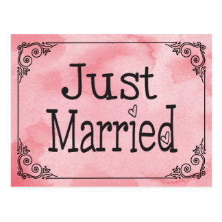 Cotton Candy Pink Just Married Watercolor Wedding Postcard