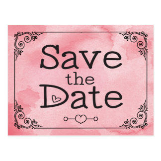 Cotton Candy Pink Save the Date Heart Watercolor Postcard