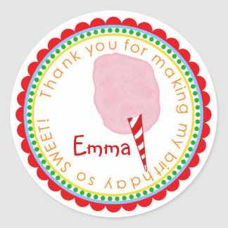Cotton Candy Stickers- Pink Classic Round Sticker