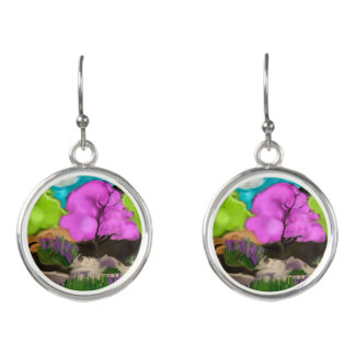 Cotton Candy Trees Abstract Art Earrings