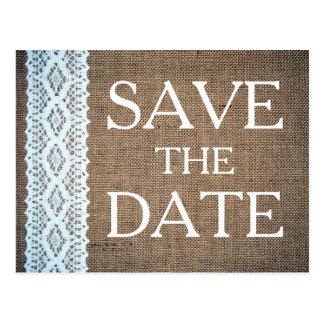 Cotton Crochet Lace & Rustic Burlap Save The Date Postcard