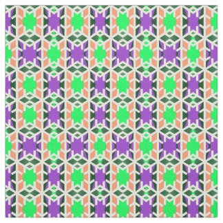 Cotton Fabric-Home Crafts-Peach/White/Green/Purple Fabric