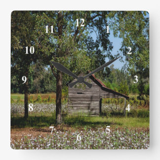 Cotton Field and Old Barn Wall Clock