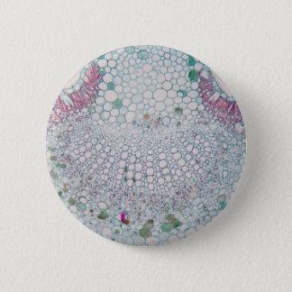 Cotton leaf under the microscope 6 cm round badge