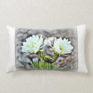 "Cotton Lumbar Pillow ""Double White Cactus Bloom"""